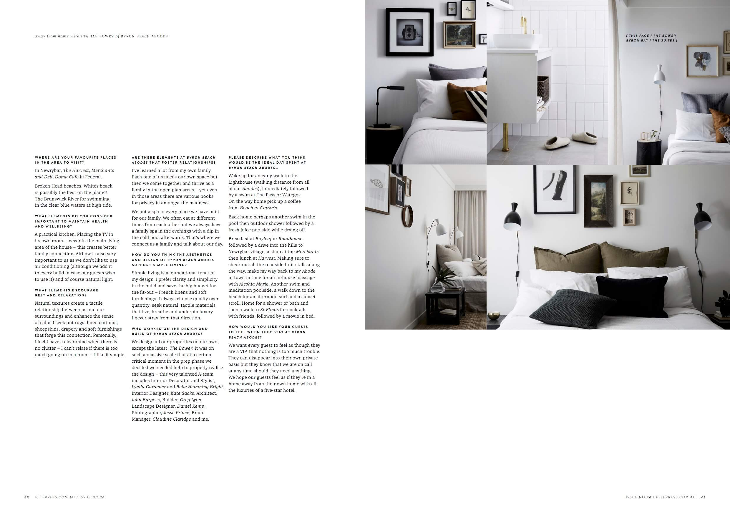 Byron Beach Abodes and The Bower Byron Bay feature Fete Press Magazine